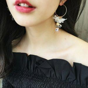 Hoop earrings Floral & water drop acrylic crystal